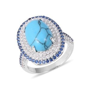 lue Howlite, Blue and White CZ Silvertone Ring